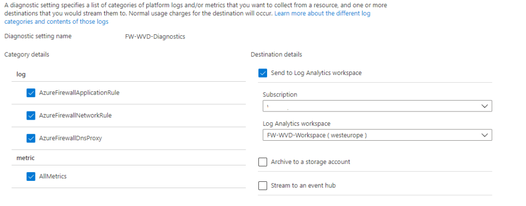 azure firewall diagnostics